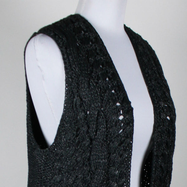 GAP dark gray & silver sleeveless metallic open cableknit swing sweater L-Newish