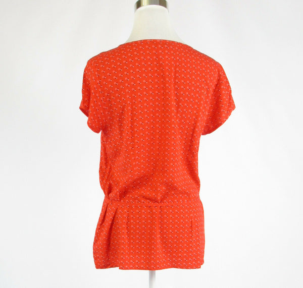 Orange geometric TOMMY HILFIGER short sleeve tunic blouse M-Newish