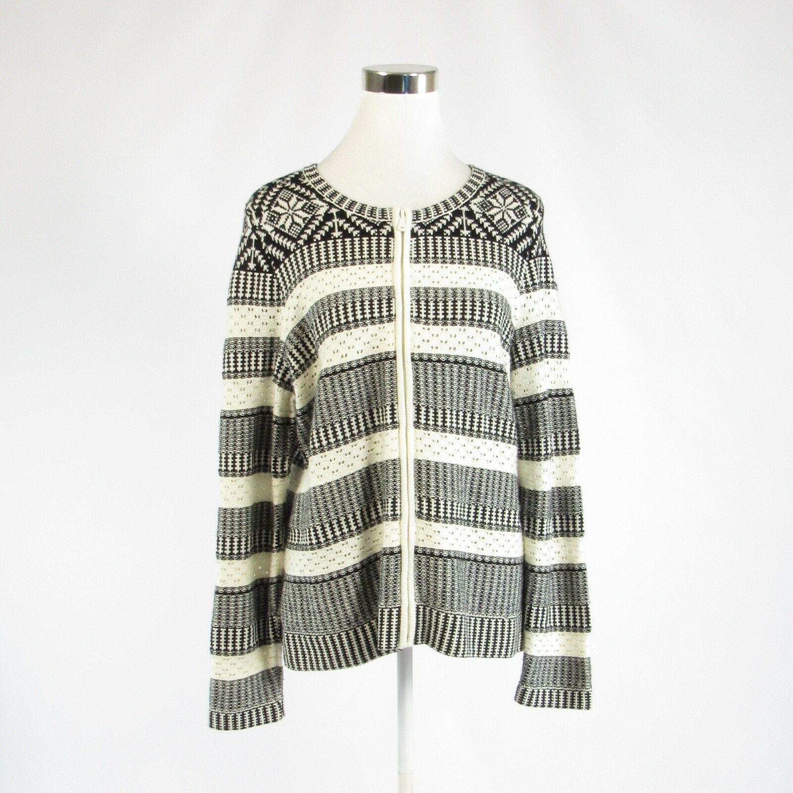 Ivory black geometric cotton TALBOTS zip front long sleeve full sweater L-Newish