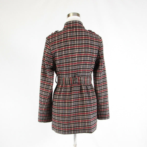 Light beige black plaid ANTHROPOLOGIE TULLE long sleeve jacket M-Newish