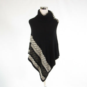 Black ivory geometric WHITE HOUSE BLACK MARKET sleeveless poncho sweater XS