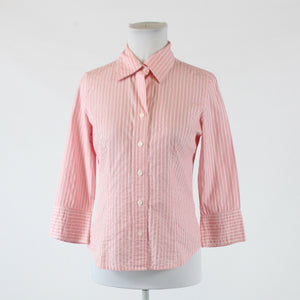 Pink red white striped cotton blend TALBOTS 3/4 sleeve button down blouse P