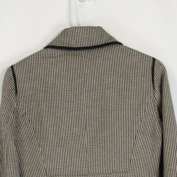 Black gray geometric 100% cotton ANN TAYLOR LOFT blazer jacket 2