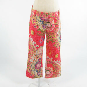 Pink red abstract cotton blend J. CREW City Fit cropped capri pants 4