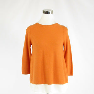 Orange white cotton blend THE LIMITED stretch 3/4 sleeve blouse XS-Newish