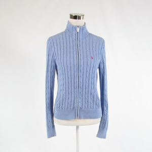 Light blue purple 100% cotton RALPH LAUREN SPORT front zip sweater L