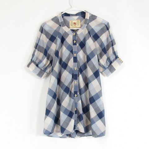 Dark blue gingham 100% cotton FRENCH CONNECTION blouse 12