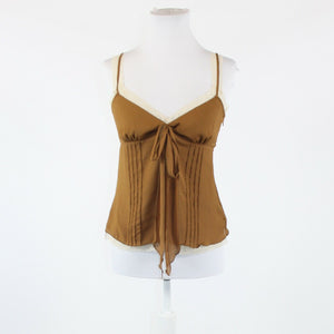 Light brown NEW YORK and COMPANY layered ivory trim spaghetti strap cami 2