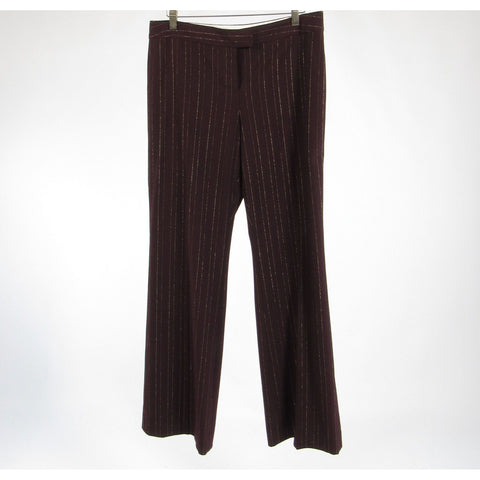 Dark brown gold pinstripe THE LIMITED Cassidy Fit wide leg linen pants 10
