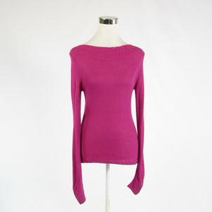 Fuchsia pink pique KENNETH COLE NEW YORK long sleeve boat neck sweater XS-Newish
