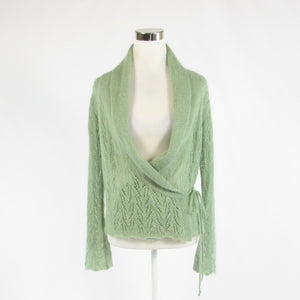 Light green MARKS & SPENCER long sleeve wrap open knit sweater 12-Newish