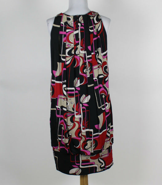 A. B. S. COLLECTION black red fuchsia print rayon sleeveless blouson dress M-Newish