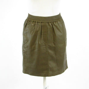 Cool brown 100% lamb leather SECOND FEMALE stretch waist pencil skirt S-Newish