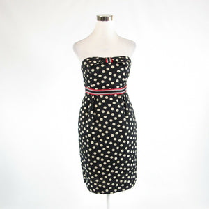 Black ivory polka dot ANTHROPOLOGIE MAEVE sleeveless sheath dress 6