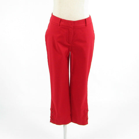 Red cotton blend TALBOTS stretch relaxed fit cropped capri pants 0P