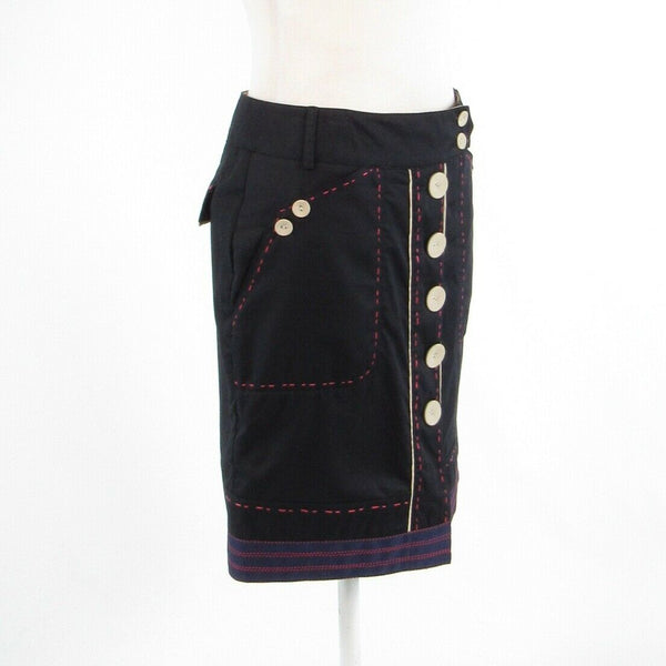 Navy blue 100% cotton VAN-DOS pencil skirt IT38 4-Newish