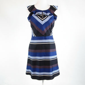 Dark blue black uneven striped satin BANANA REPUBLIC sleeveless A-line dress 4