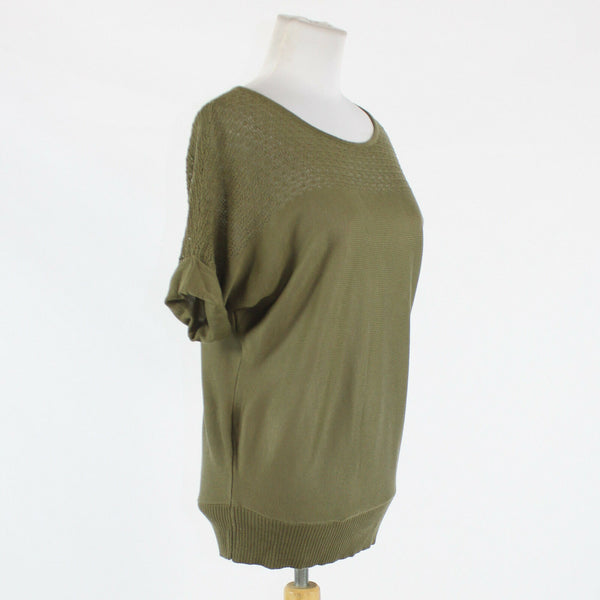 Green NEW YORK & COMPANY short sleeve multi-knit ribbed trim sweater XS-Newish