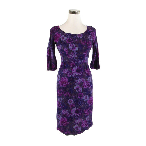 Dark purple floral print 3/4 sleeve vintage sheath dress XS-Newish