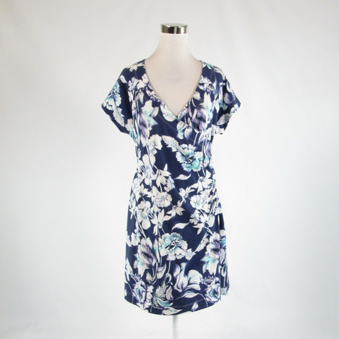 Dark blue white floral print cotton blend SOFT SURROUNDINGS faux wrap dress PL