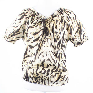 Beige brown zebra button chest 100% cotton JONES NEW YORK short sleeve blouse S-Newish
