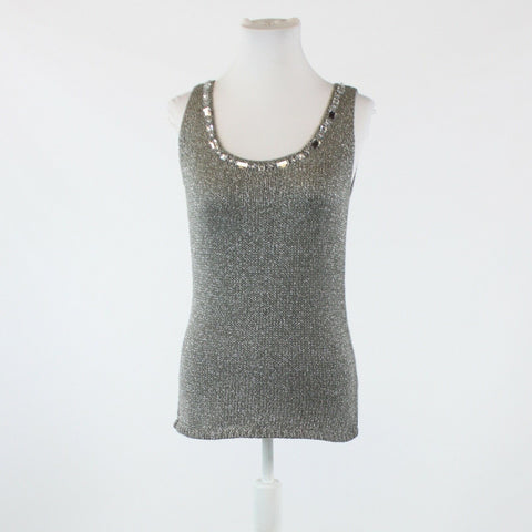 Silver shimmery NEW YORK and COMPANY rhinestone trim sleeveless sweater M