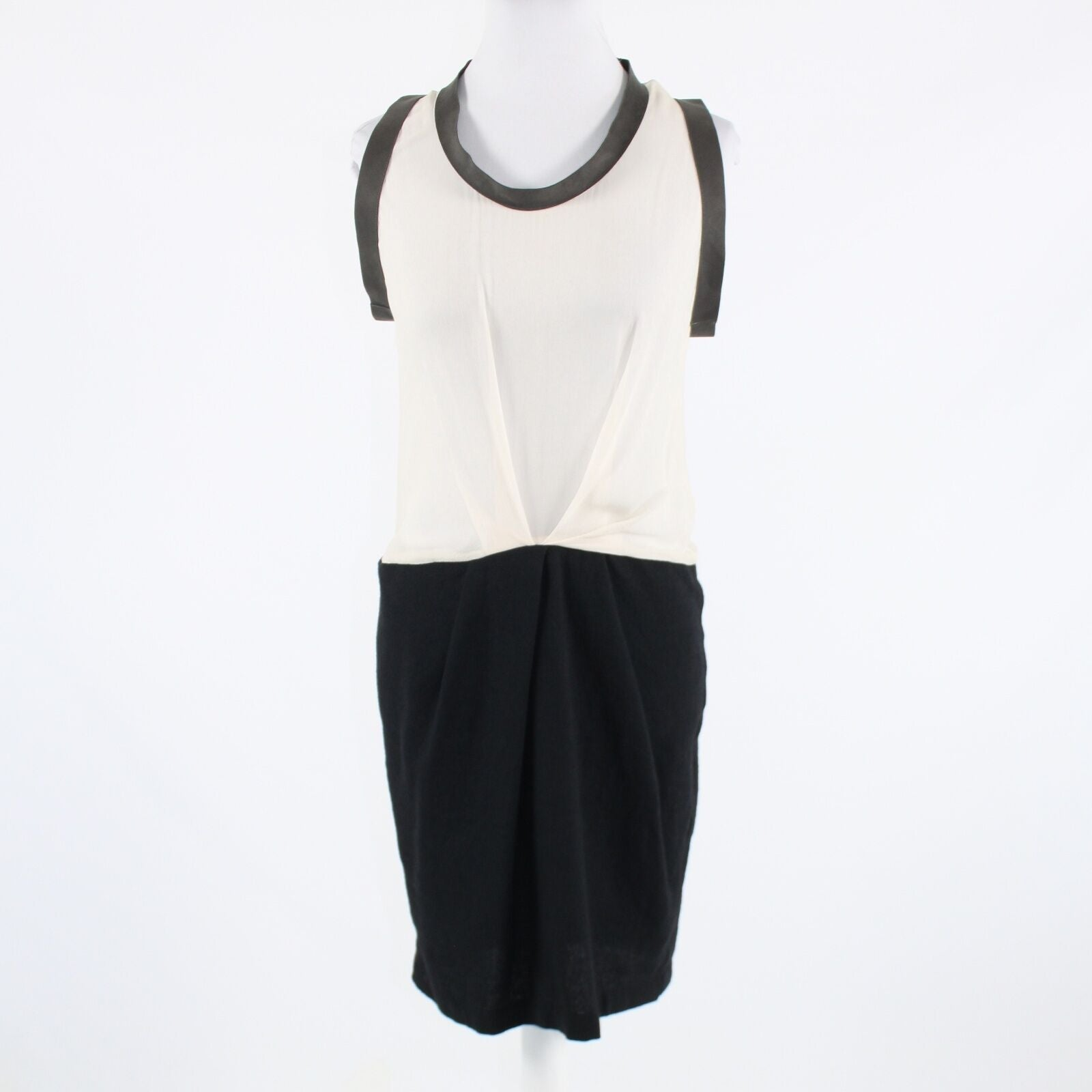Ivory black color block 100% silk CLU sleeveless A-line dress S
