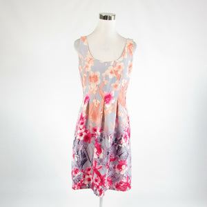 Light gray peach floral print cotton blend NINE WEST sleeveless A-line dress 8