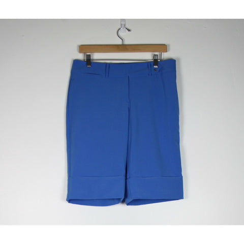 IZOD blue flat front extended snap tab cropped cuffed casual capri shorts 6-Newish