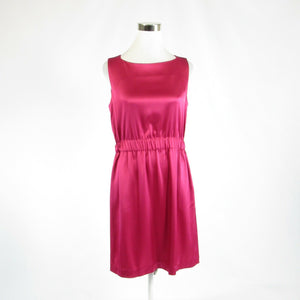 Bright pink satin PREMISE stretch sleeveless A-line dress 8 NWT $285.00-Newish