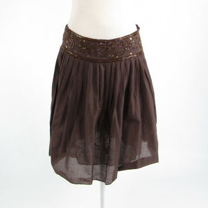 Brown 100% cotton LOB beaded trim sequin sheer overlay A-line skirt 1 S
