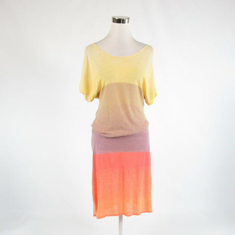 Light orange color block DIKTONS stretch short batwing sleeve sheath dress M-Newish