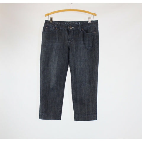 Dark rinse stretch cotton blend THE LIMITED cropped jeans 8