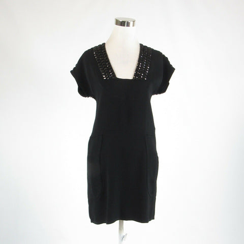 Black LERARIO BEATRIZ beaded trim stretch short sleeve sheath dress 2
