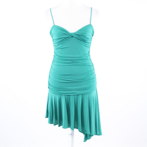 Teal green knotted chest BCBG MAX AZRIA spaghetti strap asymmetrical hem dress M