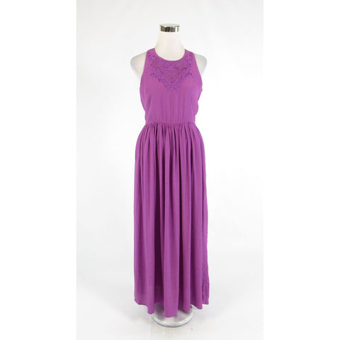 Purple LINE and DOT embroidered sleeveless maxi dress S NWT-Newish