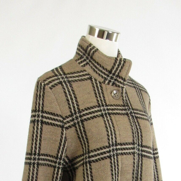 Taupe black plaid 100% wool TALLY-HO long sleeve sweatercoat sweater S NWT-Newish