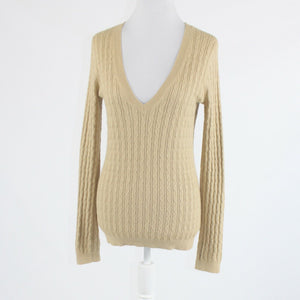 Beige cotton blend BANANA REPUBLIC long sleeve cable knit v-neck sweater M