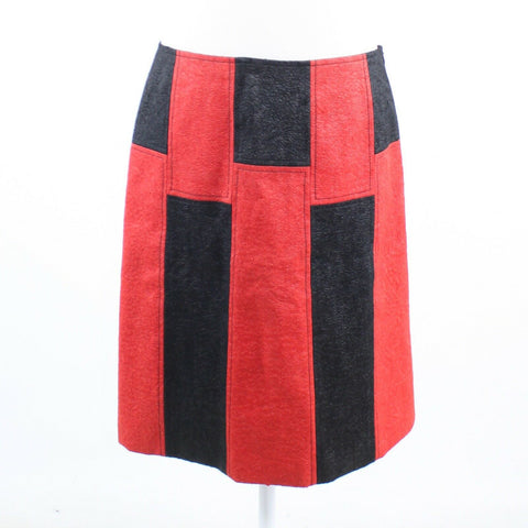 Black red striped faux suede ANNI KUAN A-line hidden side zipper skirt 4