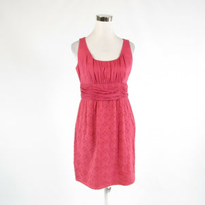 Rouge pink eyelet ANN TAYLOR LOFT sleeveless sheath dress 8