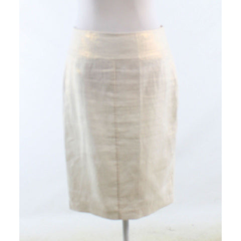 Ivory gold 100% linen KATHERINE BARCLAY shimmery pencil skirt 4 34