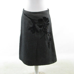 Gray black floral print FRENCH CONNECTION sequin A-line skirt 8