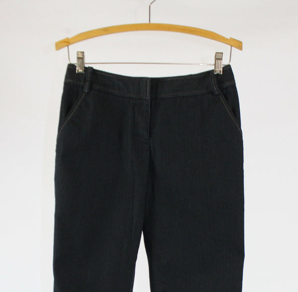 Dark rinse stretch cuffed hem cotton blend ANN TAYLOR LOFT cropped pants 2P
