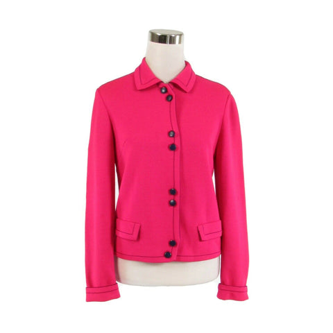Bright pink 100% wool ANDIAMO vintage sweater jacket 7 S-Newish