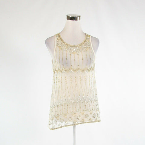 Ivory gold sheer lace PJK PATTERSON J. KINCAID sleeveless tank top blouse M
