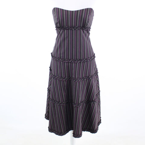 Black purple striped stretch NICOLE MILLER strapless A-line dress 6