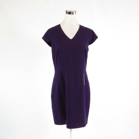 Dark purple ANDREW MARC Marc New York stretch cap sleeve sheath dress 10-Newish