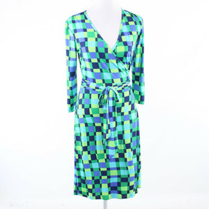 Green blue geometric LESLEY EVERS stretch 3/4 sleeve wrap dress XS