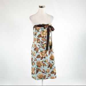 Light blue brown floral print 100% cotton JENNIFER REALE DESIGN A-line dress 10