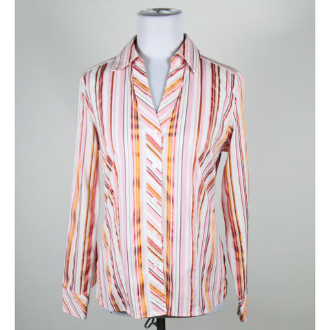 CHICO'S white pink orange striped cotton blend stretch buttondown blouse 4 XS 0-Newish